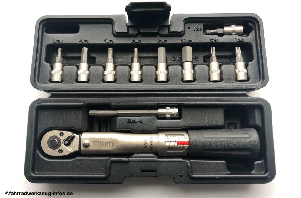 Mighty Fahrrad Drehmomentschlüssel (klein) mit diversen Stecknussaufsätzen in einer praktischen Box - ein beliebtes Produkt auf Amazon.